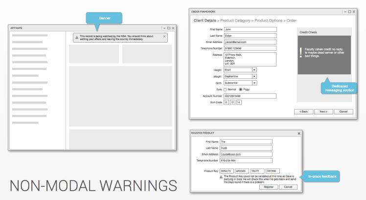 Non-Modal Warnings
