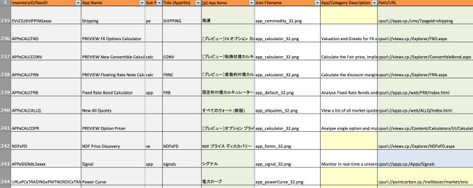App List (extract)